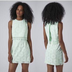 Lace mint mini dress